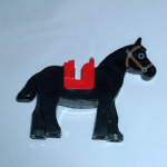 Lego  Horse with Black Eyes Circled with White, Brown Bridle Pattern with red saddle